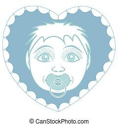 Neugeborener Baby-Sohn mit Pacifier. Portrait in einem Rahmen in Form eines Herzens.