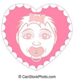 Neugeborenes Mädchen mit Pacifier. Portrait in einem Rahmen in Form eines Herzens.