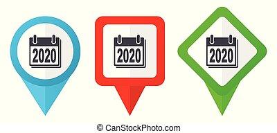 Neujahr 2020 Zeichen rote, blaue und grüne Vektorzeiger Icons. Farbige Positionsmarker, isoliert auf weißem Hintergrund leicht zu bearbeiten