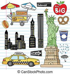 New York City Doodles Vektorset