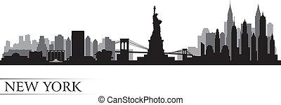 New York City Skyline, detaillierte Silhouette