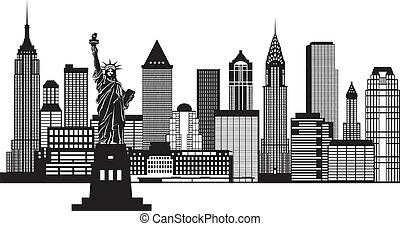 New York City skyline schwarz-weiß Illustration.
