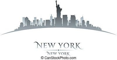 New York City Skyline Silhouette weißer Hintergrund