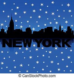 New York Skyline Schnee Illustration.