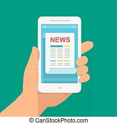 News App auf Smartphone. Hand hält Smartphone