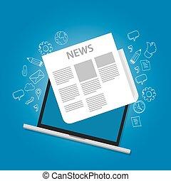 News Icon Zeitung auf Laptop Bildschirm online Icon.