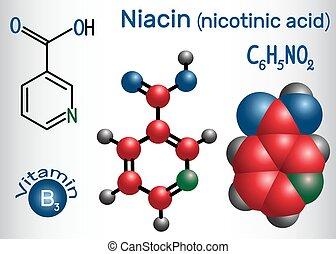 Niacin (Nikotinsäure) Molekül, ist ein Vitamin B3 gefunden in Lebensmitteln, als Nahrungsergänzungsmittel. Strukturelle chemische Formel und Molekülmodell