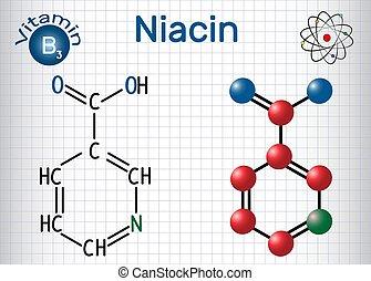 Niacin (Nikotinsäure) Molekül, ist ein Vitamin B3 gefunden in Lebensmitteln, als Nahrungsergänzungsmittel. Strukturelle chemische Formel und Molekülmodell. Papierschere in einem Käfig.