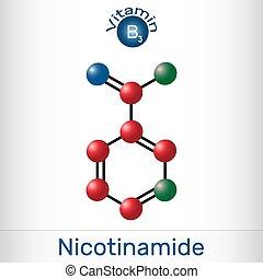 nicotinamide, gefunden, gebraucht, diätetisch, vitamin, ihm, lebensmittel, b3, nam, c6h6n2o, modell, molecule., molekül, supplement.