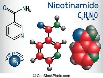 Nicotinamide (NAA) Molekül, ist ein Vitamin B3 in Lebensmitteln gefunden, als Nahrungsergänzungsmittel. Strukturelle chemische Formel und Molekülmodell
