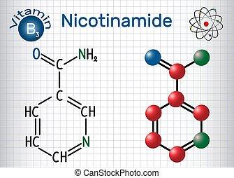 Nicotinamide (NAA) Molekül, ist ein Vitamin B3 in Lebensmitteln gefunden, als Nahrungsergänzungsmittel. Strukturelle chemische Formel und Molekülmodell. Papierschere in einem Käfig