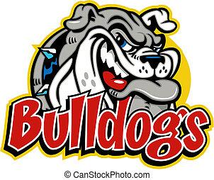 Niedlich grinsende Bulldogge