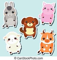 Niedlich kawaii Farmtiere Aufkleber. Vector Illustration. Schwein, Hund, Schaf, Kuh