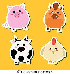 Niedlich kawaii Farmtiere Aufkleber. Vector Illustration. Schwein, Pferd, Kuh