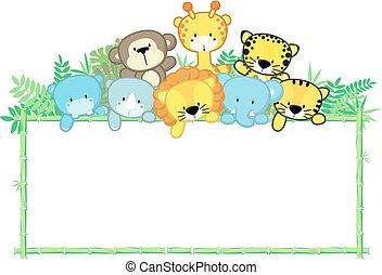 Niedliche Babytiere Dschungelrahmen.