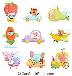 Niedliche Babytiere in Transport Set, Waschbär, Tiger, Tintenfisch, Koalabär, Fuchs, Hund, Hippo Elefanten, Schweine reiten Autos, fliegen durch Flugzeuge vektor Illustration.