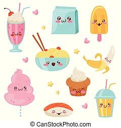 Niedliche Kawaii Lebensmittel-Cartoon Charaktere Set, Desserts, Süßigkeiten, Sushi, Fast Food Vektor Illustration auf einem weißen Hintergrund.