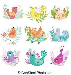 Niedliche kleine Nistvögel Set, Symbole der Frühjahrsvektorgrafik.