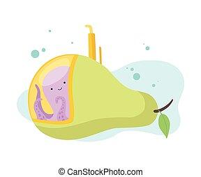 Niedlicher Tintenfisch, der U-Boote aus Birnen, lustige Seekreatur im Transport.