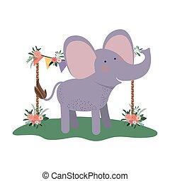 Niedlicher und bezaubernder Elefant mit Blumenrahmen.