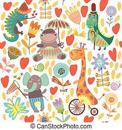 Niedliches Blumenmuster mit wilden Tieren aus Afrika. Iguana, Giraffen, Hippo, Elefant, Krokodil