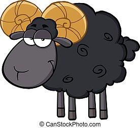 Niedliches schwarzes Schaf.