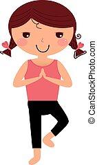 Niedliches Yoga-Mädchen, isoliert auf weiß.
