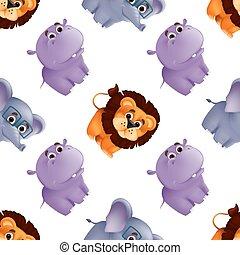 nilpferd, hintergrund., abbildung, papier, löwe, zoo, tiere, seamless, freigestellt, druck, stoff, gewebe, elephant., charaktere, weißes, reizend, oder, lustiges, vektor, maskottchen, muster, groß, verpackung, baby