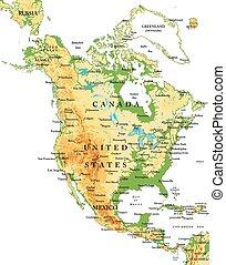 nord, america-physical, landkarte