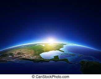 nord, aus, wolkenlos, erde, amerika, sonnenaufgang