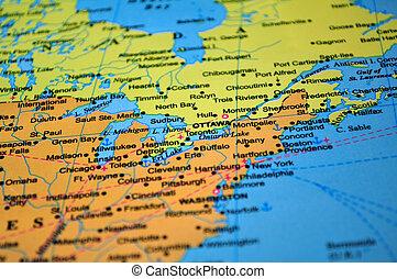Nordamerika: Landkarte von Kanada und den Vereinigten Staaten.
