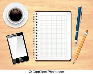 Notepad auf Büro-Top-Vision, Fotoreaktor