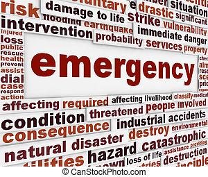 Notfall-Botschaft im konzeptionellen Hintergrund