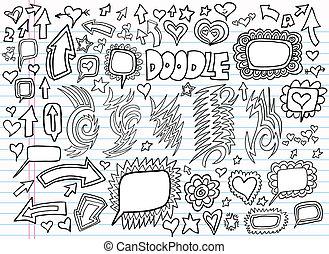 Notizbuch-Doodle-Design-Sektor-Set