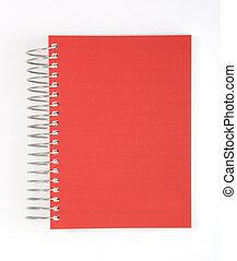 notizbuch, freigestellt, rotes