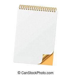 Notizbuch mit gelockerter Ecke