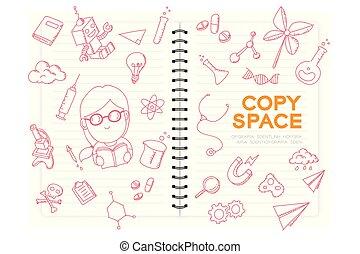 """Notizbuch mit Kind Mädchen Handzeichnung Set, Stellen Sie sich vor, zukünftige Occupation """"Scientist"""" Konzept Idee Illustration isoliert auf weißem Hintergrund, mit Kopie Raum."""