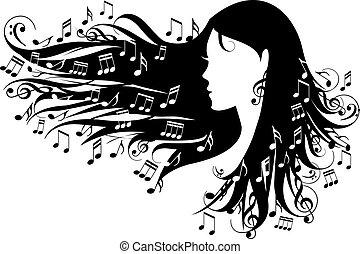 notizen, frau, musik