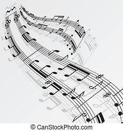 notizen, musik, hintergrund, welle