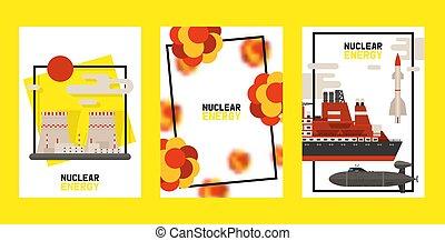Nuklearer Energiesatz von Karten, Plakat-Vektor-Darstellung. Radioaktives Atomkraftwerk, Bombenexplosion, Atom-Ikonen. Rocket, Schiff, Fabrik, Station. Umweltverschmutzung.