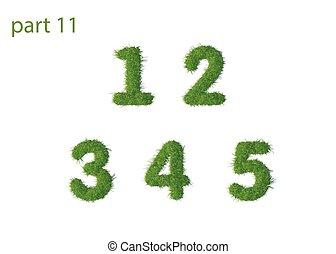 Nummern 1, 2, 3, 4, 5, grünes Gras.