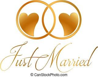 Nur verheiratete Ringe, Vektordesign.
