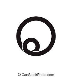 o, brief, vektor, spirale, logo, schleife