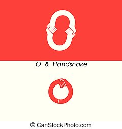 O -Letter Icon & handshake logo.
