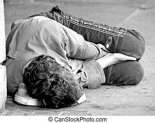 Obdachlose Jugendliche auf der Straße