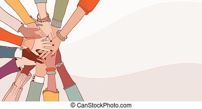 oberseite, gemeinschaftsarbeit, gemeinschaft, culture.racial, multi-ethnisch, cooperation.diverse, hände, andersartigkeit, verschieden, multikulturell, gruppe, einander, people.concept, equality.oneness, leute.