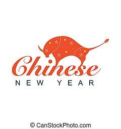 ochse, chinesisches , jahr, neu , year.