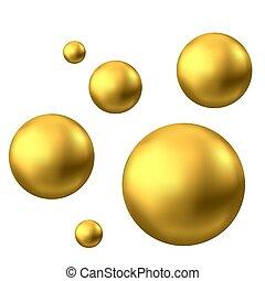 oel, freigestellt, oder, blase, weißes, gold, hintergrund., kugelförmig