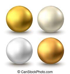 oel, oder, weißes, freigestellt, blase, hintergrund., gold, kugelförmig