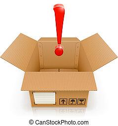 Offene Box mit Ausrufezeichen